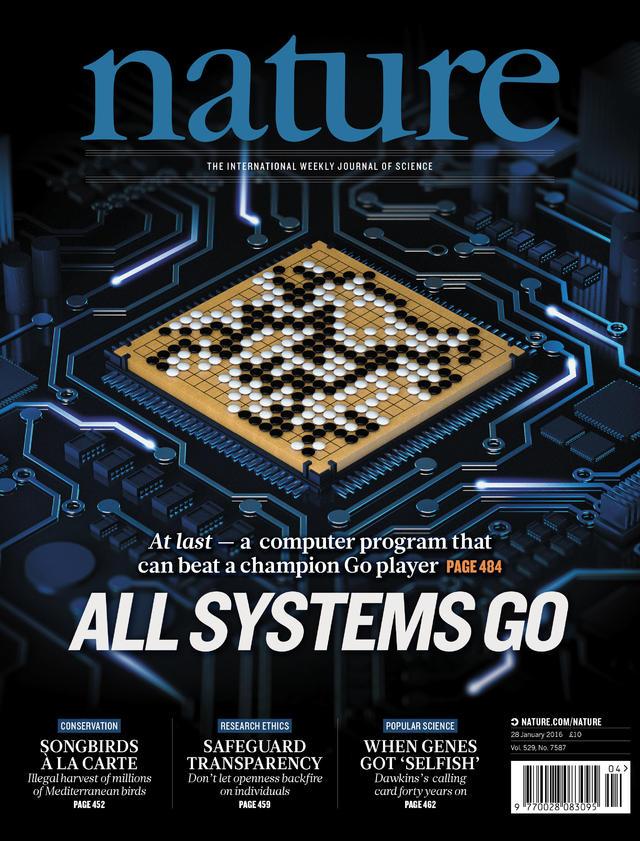 描述AlphaGo研究成果的论文成为了1月28日的《自然》杂志的封面文章。图片来源:Nature/Google DeepMind
